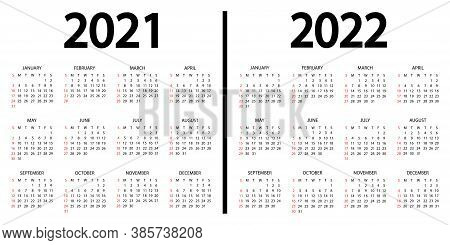 Calendar 2021-2022. The Week Starts On Sunday. 2021 And 2022 Annual Calendar Template. 12 Months Yea