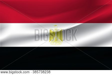 Flag Of Egypt. Realistic Waving Flag Of Arab Republic Of Egypt. Fabric Textured Flowing Flag Of Egyp