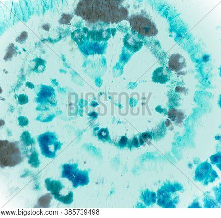 Tie Dye Spiral. Blue Batik Shirt. Tie-dye Circular Pattern. Hippie Watercolor Backdrop. Artistic Roc