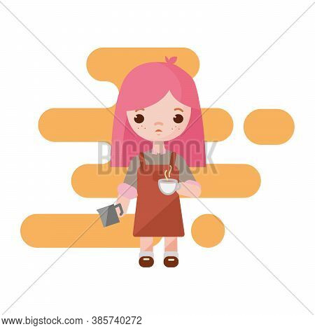 Cute Little Barista. Barista Girl With A Milk Cup To Coffee In Hands. Girl Barista Isolated. Vector
