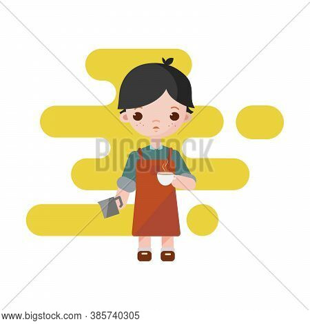 Cute Little Barista. Boy Barista Isolated. Vector Illustration. Barista Boy With A Milk Cup To Coffe
