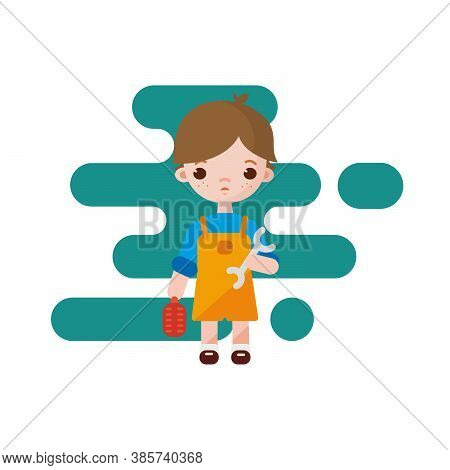 Cute Little Plumber Boy. Plumber Boy Isolated. Vector Illustration. Plumber Boy With Tools In Hands.