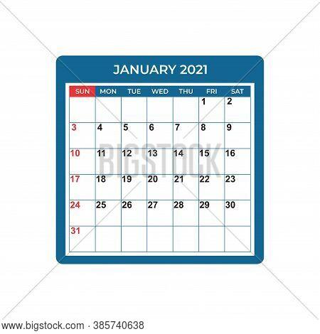 January Calendar Planner 2021, Week Starts On Sunday. Part Of Sets Of 12 Months. Wall Desk Calendar