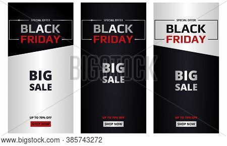 Black Friday, Banners Collection. Black Friday Dark And Silver Vertical Banners Set. Big Sale, Speci