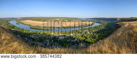 View from the top of hill to Dniester river near Socola village, Soldanesti district, Moldova. High resolution stitched panorama.