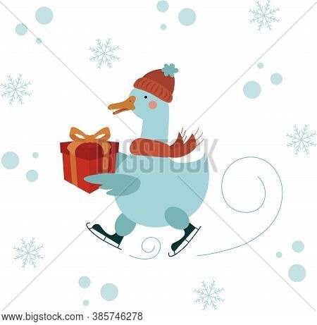 Vector Illustration Of A Cute Skating Goose In A Red Hat And Scarf Carrying A Gift.