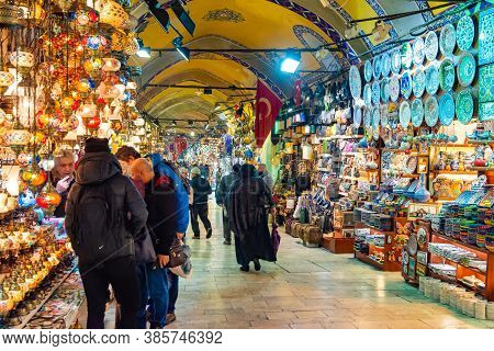 Istanbul - March 14 2020: The Grand Bazaar Is The Most Famous Oriental Covered Market In The World.