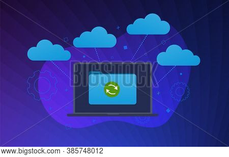 Multi Cloud Technology Flat Vector Modern Illustration. Cloud Computing Storage Network Connected An