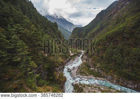 Bhote-khosi River, Nepal. View From The Hillary Bridge