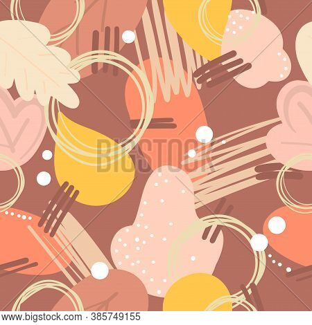 Abstract Modern Autumn Pattern. Vector Illustration. Autumn Hand Drawn Brawn Yellow  Beige Leaves