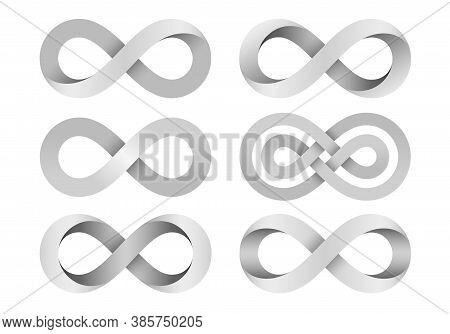 Set Of Infinity Signs Made Of Different Types Of Torsion And Intersection. Mobius Strip Symbols. 3d