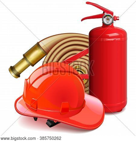 Vector Firefighter Concept With Red Helmet Isolated On White Background