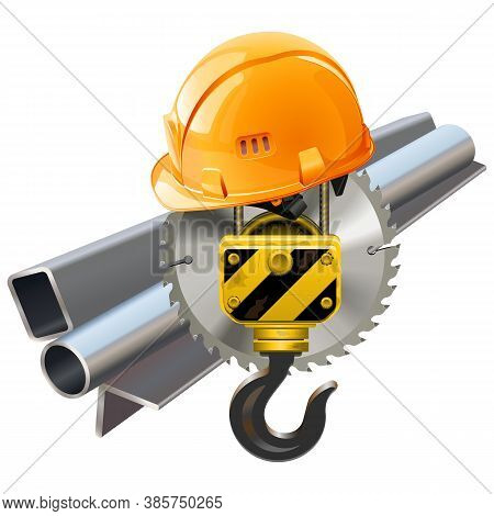 Vector Metal Shipment Concept With Crane Hook Isolated On White Background