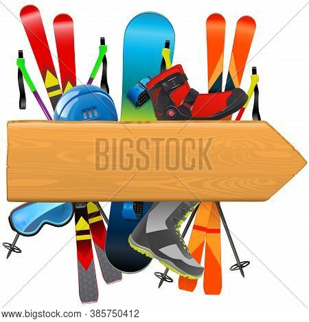 Vector Ski Rental Board Isolated On White Background