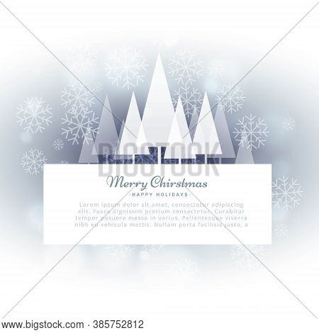 Vector Design Illustration  Beautiful Merry Christmas Greeting Card With Snowflakes