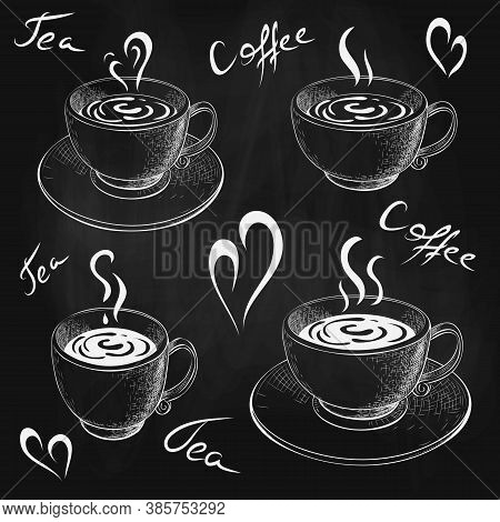 Chalk Drawn Cups Of Coffee Or Tea With Saucer And Lettering Isolated On Chalkboard. Coffee Love Sket