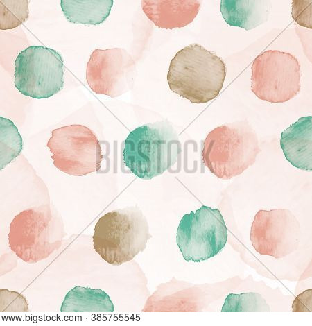 Vector Dots Stains Pink Mint Ecru Seamless Pattern