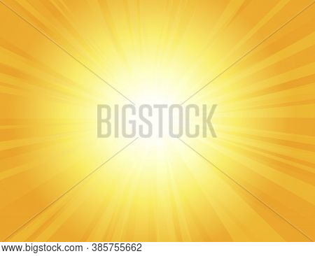 Sun Rays With Sunbeams On An Orange Background, Bright Yellow Color Burst Background, Sunrise, Yello