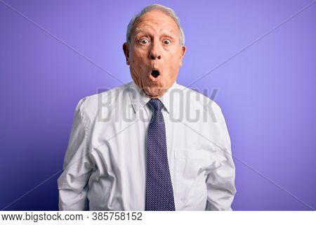 Grey haired senior business elegant man standing over purple isolated background afraid and shocked with surprise expression, fear and excited face.