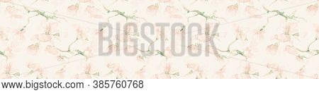 Seamless Flower Repeating. Pink Cherry Petal Drawing. Modern Asian Ornament. Pastel Flower Repeating
