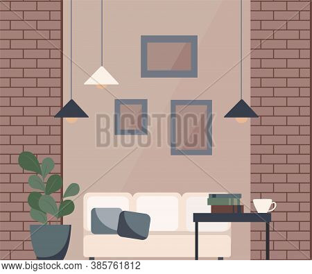 Vector Illustration Of A Living Room: Brick Walls, White Sofa, Coffee Table, Metal Floor Lamp, Paint