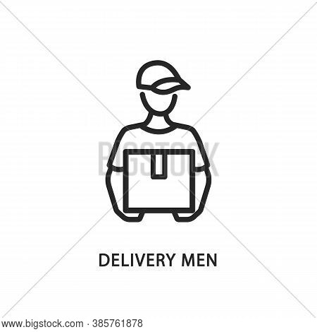 Delivery Men Line Flat Icon. Vector Illustration A Man In A Cap Holds A Box In His Hands. Postman. E
