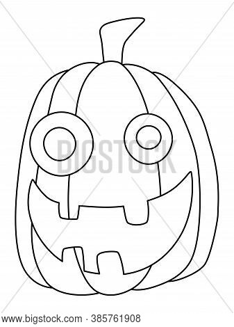 Silly Smiling Face Carved Pumpkin Simple Black And White Stock Vector Illustration. Foolish Hallowee
