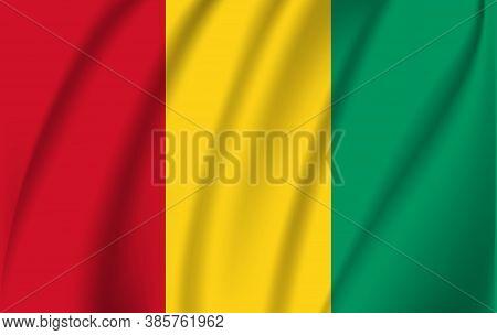 Realistic Waving Flag Of Republic Of Guinea-bissau. Fabric Textured Flowing Flag Of Guinea-bissau.