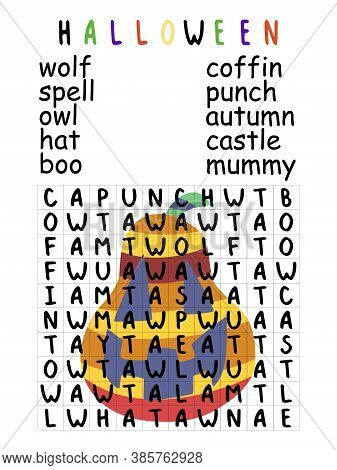 Easy Halloween Word Search Puzzle For Kids Stock Vector Illustration. Educational English Word Game