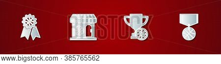 Set Basketball Award, Sports Shop And Basketball, Award Cup With And Medal Icon. Vector