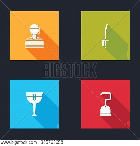 Set Sailor Captain, Pirate Sword, Wooden Pirate Leg And Hook Icon. Vector