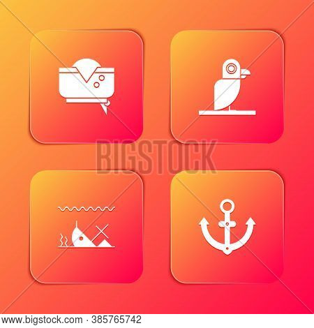 Set Pirate Hat, Parrot, Sunken Ship And Anchor Icon. Vector