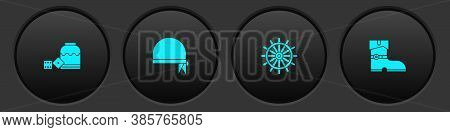 Set Pirate Game Dice, Bandana For Head, Ship Steering Wheel And Leather Pirate Boots Icon. Vector