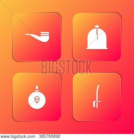 Set Smoking Pipe, Pirate Sack, Bomb Ready To Explode And Sword Icon. Vector