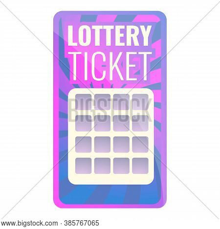 Card Lottery Ticket Icon. Cartoon Of Card Lottery Ticket Vector Icon For Web Design Isolated On Whit