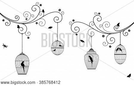 Vector Illustration Of Curly Tree Branches With Flowers, Hanging Bird Cages, Butterflies, Dragonflie