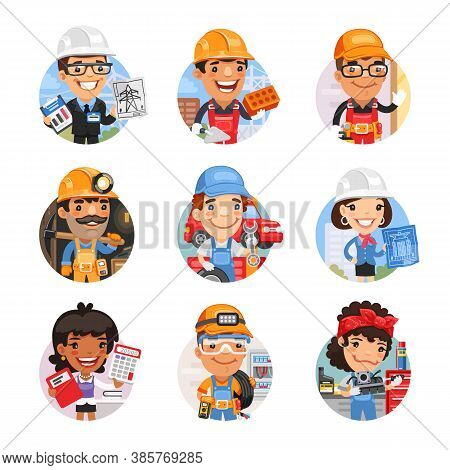 Set Of Avatars With People Of Different Professions. Power Engineer, Builder, Locksmith, Miner, Tire