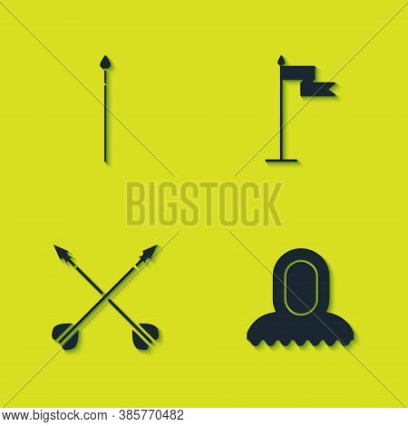 Set Medieval Spear, Hood, Crossed Arrows And Flag Icon. Vector