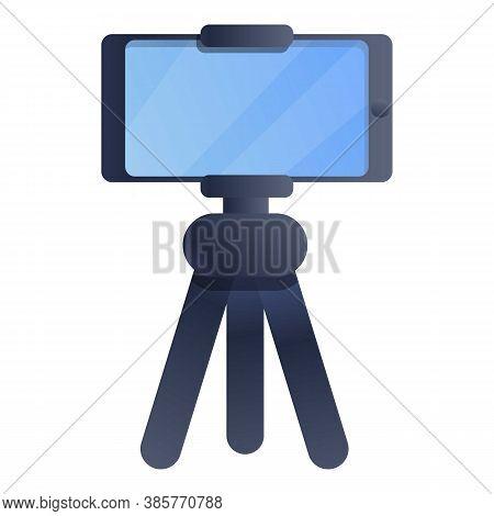Smartphone Tripod Icon. Cartoon Of Smartphone Tripod Vector Icon For Web Design Isolated On White Ba