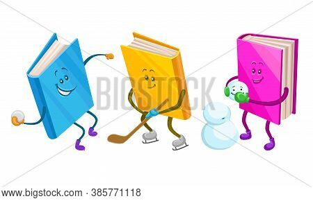 Cute Humanized Books In Hard Cover Playing Snowballs And Building Snowman Vector Set