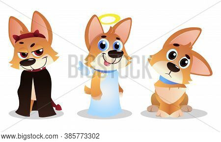 Cute Cartoon Puppy With Big Ears Showing Different Mood And Emotion Vector Set