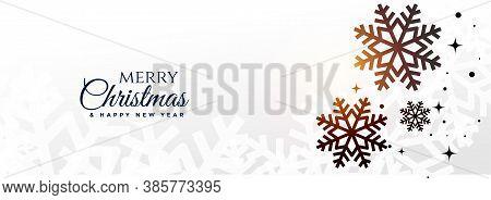 Merry Christmas White Snow Flakes Banner Vector Design Illustration