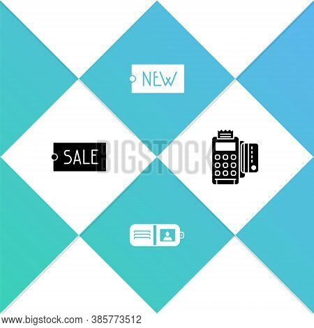 Set Price Tag With Text Sale, Wallet, New And Pos Terminal Credit Card Icon. Vector