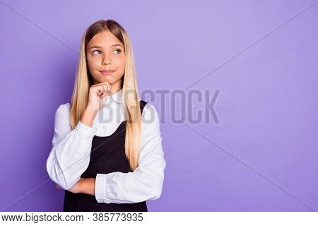 Portrait Of Her She Nice Attractive Pretty Creative Brainy Long-haired Girl Thinking Touching Chin C
