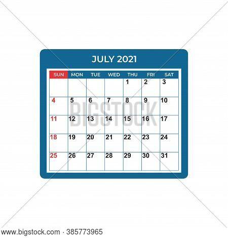 July Calendar Planner 2021, Week Starts On Sunday. Part Of Sets Of 12 Months. Wall Desk Calendar Vec