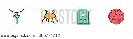 Set Christian Cross On Chain, Pastafarianism, Tombstone With Rip Written And Moon Icon. Vector