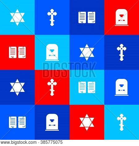 Set Star Of David, Christian Cross, The Commandments And Tombstone With Rip Written Icon. Vector