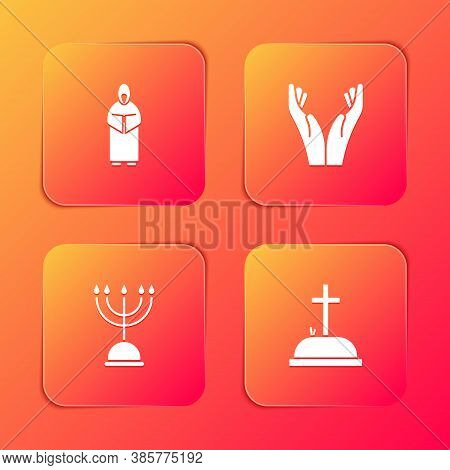 Set Monk, Hands In Praying Position, Hanukkah Menorah And Tombstone With Cross Icon. Vector