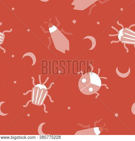 Сute Vector Seamless Pattern With Beetles And Moon In Pastel Pink And White On Red Background. Digit