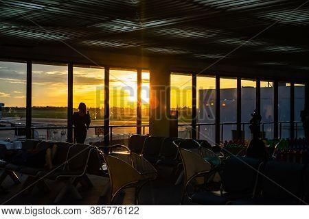 Bangkok/thailand-22 July 2019:unacquainted People With Beautiful Scenery Sunrise In Don Muang Intern